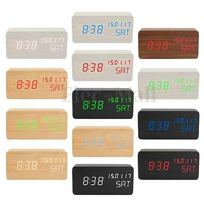 Modern Wooden Wood USB/AAA Digital LED Alarm Clock Calendar Thermometer