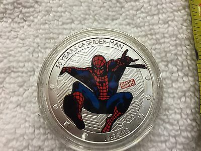 2013 Marvel Spiderman 50th Anniversary Canada Silver Plated Collector Coin