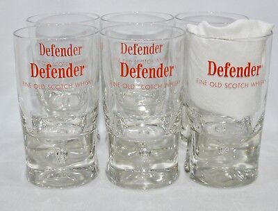"DEFENDER SCOTCH WHISKY 6 Verres pied ""bulle"" 20 cl vintage NEUF"