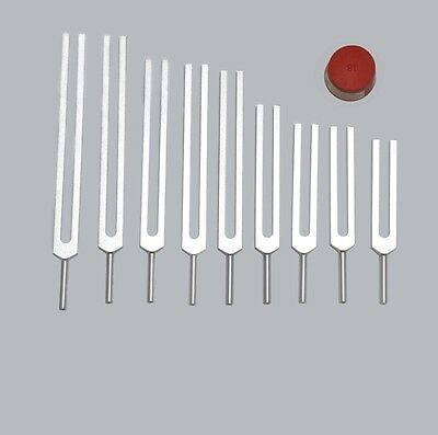 Professional Quality 9 pc Sacred Solfeggio Healing Tuning forks+ Activator Free