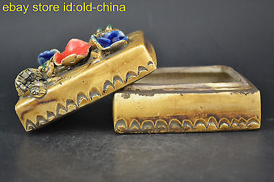 China Collectible Handwork Old Porcelain Carve Mice Snake Women Rouge Box Noble