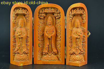 China Collectible Old Wood Carve Buddha Lifelike Relievo Decor Statue Box Noble