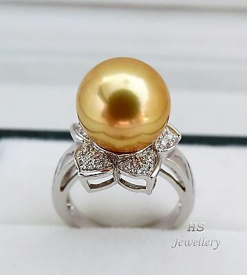 HS Golden South Sea Cultured Pearl 13.01mm & Diamond .30ctw, 18K White Gold Ring