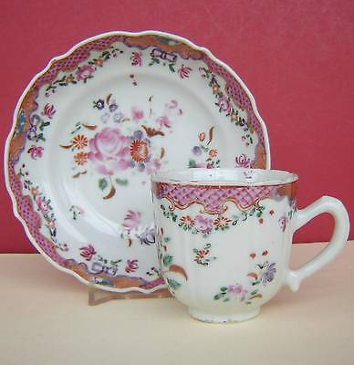Chinese Porcelain Cup & Saucer Flowers 18thc