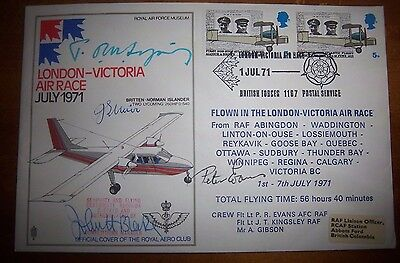 V/RARE S7c - LONDON-VICTORIA AIR RACE MULTI SIGNED & FLOWN LTD EDITION COVER