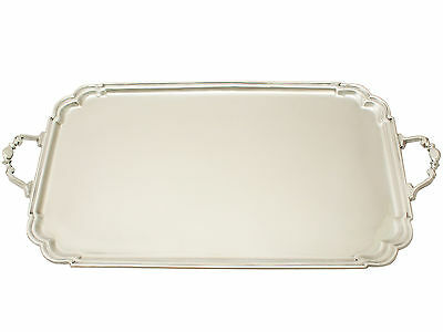 Sterling Silver Drinks Tray - Art Deco Style - Vintage Elizabeth II
