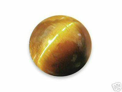 A PAIR OF 10mm ROUND CABOCHON-CUT NATURAL GOLDEN TIGERS-EYE GEMSTONES £1 NR!