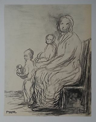 "Henry Moore ""Mother with two children"" Lithograph Limited 2047/3000 pcs Seat '83"