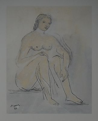 "Henry Moore ""Seated nude"" Lithograph Limited 2047/3000 pcs Seat '83"