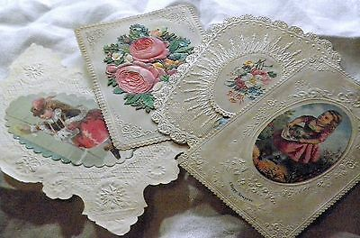 Antique Victorian 4 paper lace greetings cards christmas & new year