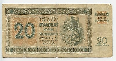 GB049 - Banknote Slowakei 20 Korun 1942 Pick#7 Jan Holly