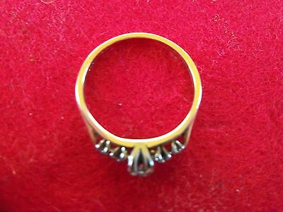 STUNNING 18kt YELLOW GOLD / FIVE DIAMOND ENGAGEMENT RING Sz 6-1/2