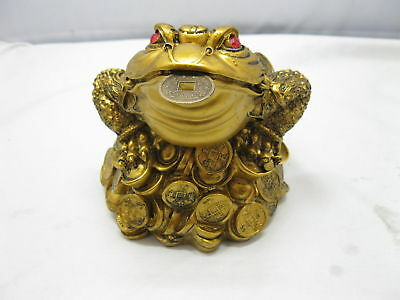 1Pc Brass Plated Feng Shui Money Frog On Treasure