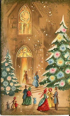 Vintage Christmas Card: Victorian Church Scene