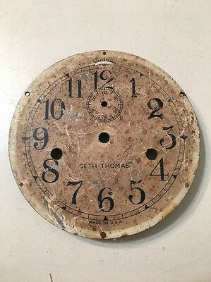 Antique Vintage Seth Thomas Ships Clock Dial With Mounting Plate