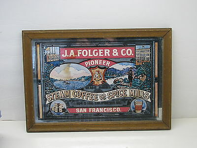 Old J. A. Folger & Co. Coffee General Store Advertising Mirror Sign