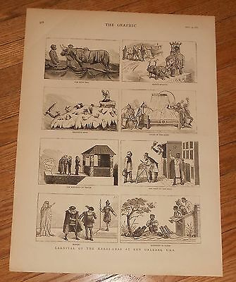 1883 Antique Print of Mardis Gras at New Orleans