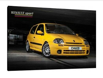 Renault Clio 172  - 30x20 Inch Canvas Framed Picture Wall Art Print