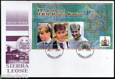 Sierra Leone 2003 Prince William 21st Birth Day Sc 2636 Sheetlet on FDC # 9375
