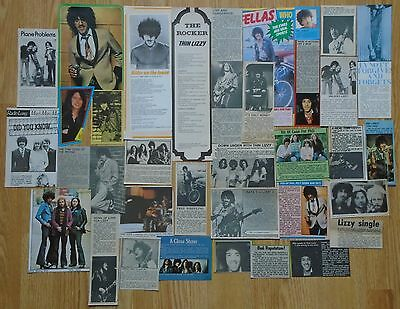ORIGINAL THIN LIZZY / PHIL LYNOTT MAGAZINE CLIPPINGS - 1970s UK - OVER 30 ITEMS