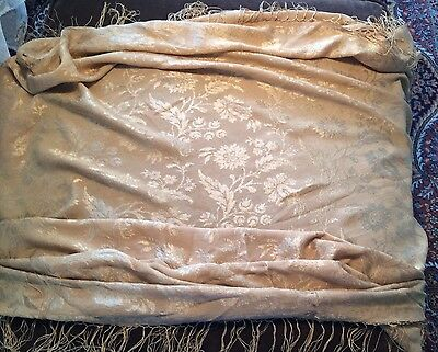Antique Regency c1810 gold shimmery silk crepe square shawl fringed as seen