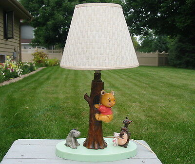 Antique 1960's Dolly Toy Co Winnie the Pooh Lamp Porcelain Eeyore Kanga Piglet