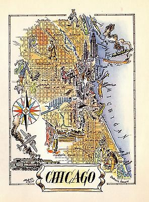 1950s Vintage CHICAGO Map University of Chicago BASEBALL Picture Map 3428