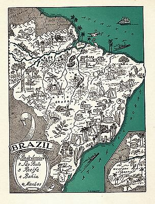 1940s Antique BRAZIL Pictorial Map South America Picture Map 3431