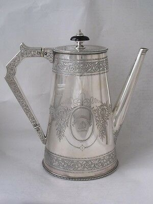 Large Antique Hand-Engraved Crest & Motto Solid Silver Coffee Pot 1865/ H 997 g