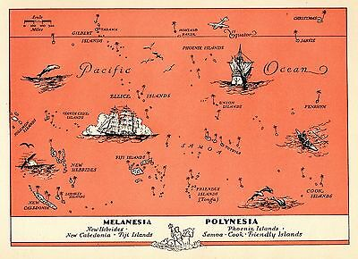 1945 PACIFIC ISLANDS Map Fun and Funky POLYNESIA Picture Map FIJI 3433