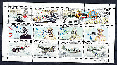 Tonga 1992 50th Ann War in the Pacific sheetlet opt SPECIMEN.Sg1165-1176s.MUH/MN