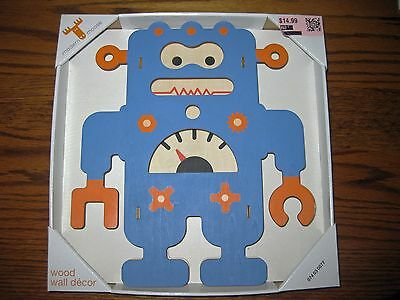 Modern Moose Blue Robot Wood Wall Decor Infant Toddler Nursery Space Nwt Flaw