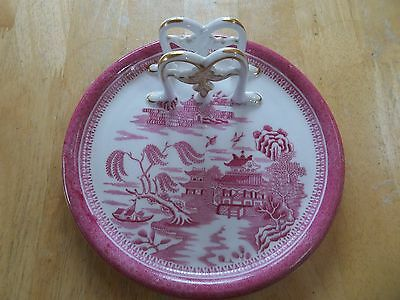 A Rare shaped Spode Copeland Mandarin Pink Plate for breakfast very unusual