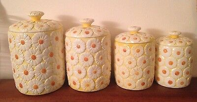 Yellow Kitchen White Daisy Pattern Canister Set Daisies Vintage 60's