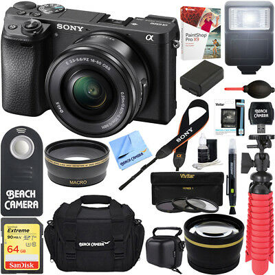 Sony a6500 4K Mirrorless Camera + 16-50mm Power Zoom Lens Black + 64GB 16Pcs Kit