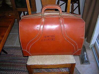 Antique Vintage Doctor Medical Bag Cognac Cowhide Leather Satchell Handles Xlg