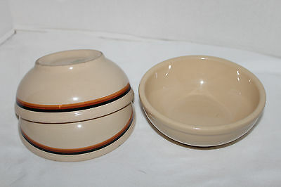 Vintage~INCA WARE~Shenango China~3 Soup BOWLS~Tan~ORANGE Brown BLACK Stripe~USA