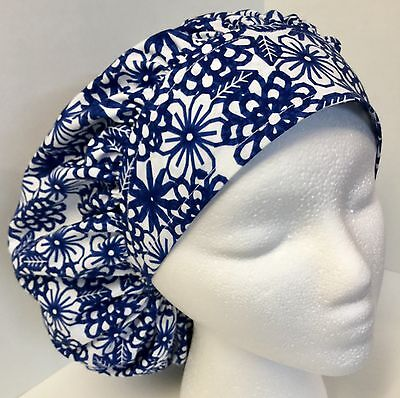 Blue & White Floral Large Medical Bouffant OR Scrub Cap Surgery Hat