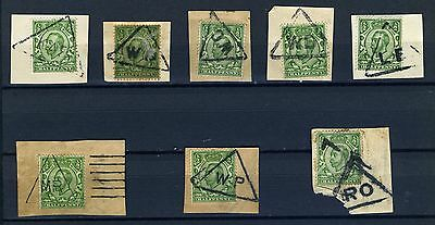 GB 1910's King George V Downey heads group on paper with triangular postmarks