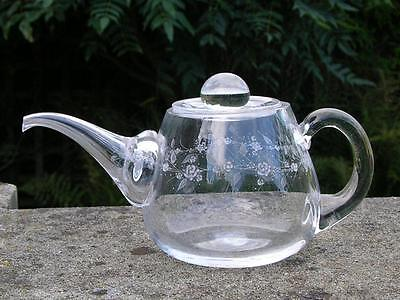 Antique American Sinclair / Pyrex Glass Teapot Hand Engraved With Flowers
