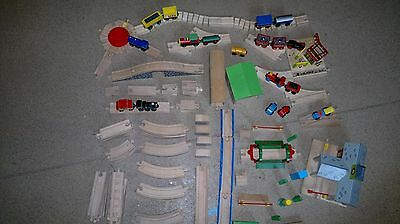 Large wooden trainset Collection of brio and bigjigs  trains track buildings etc
