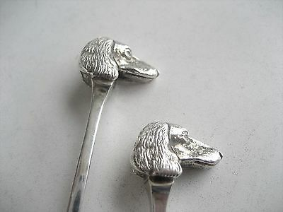 Pair Solid Silver Hunting Dog Heads Teaspoons Birmingham 1933 Engraved Champions
