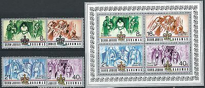E015) Bahamas. 1977. MNH. SG 488 to 491,ms482. Silver Jubilee. Royalty