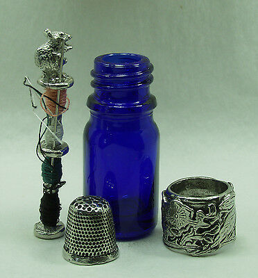 Victorian style Pewter & Glass sewing travelset - Pewter vine leaf scroll work