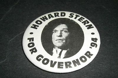 "1994 Howard Stern For Governor Mint Pin 2"" Excellent Condition"