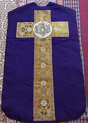 """Antique French Silk Hand Embroidery Vestment Chasuble 26"""" By 41"""""""