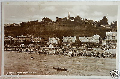 Antique 1915 Postcard - Real Photo Shanklin Front From The Pier Isle Of Wight