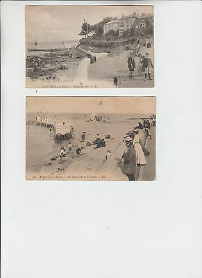 Angleterre Isle Of Wight 2 Cpa Postcards Seaview Beach And Ryde Animees