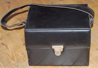 VINTAGE 1980s BLACK RECORD STORAGE BOX / CARRY CASE FOR 7-INCH SINGLES VG COND.