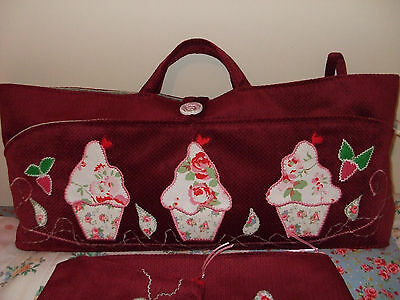 Knitting/sewing Bag Handmade Cupcakes Cath Kidston Fabric Applique New